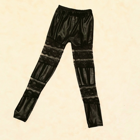 Pants - Faux leather and lace leggings